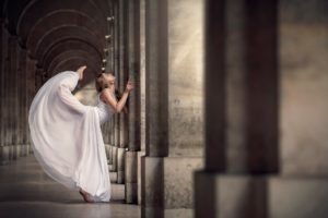 women, Building, Depth of field, Dress, Old building, Pillar, Blonde, White dress