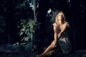 women, Blonde, Forest