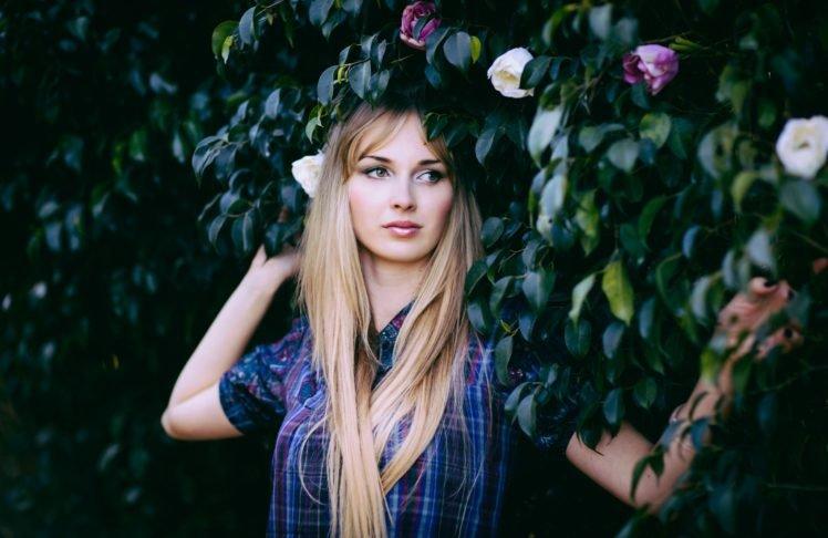 women, Flowers, Blonde, Leaves, Long hair HD Wallpaper Desktop Background