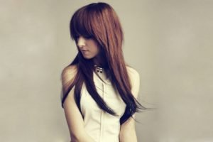 Christina Grimmie, Women, Simple background, Looking away, Dress, Brunette, Auburn hair