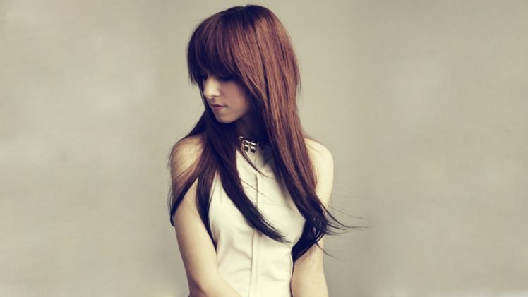 Christina Grimmie, Women, Simple background, Looking away, Dress, Brunette, Auburn hair HD Wallpaper Desktop Background