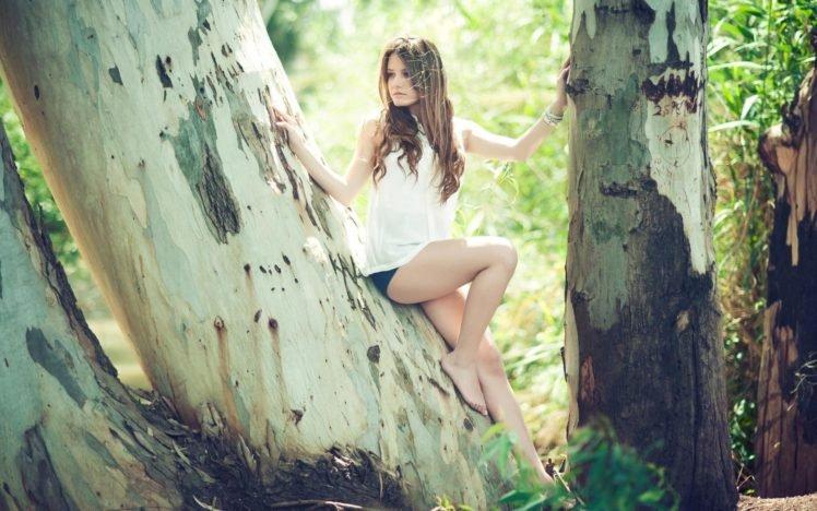 Matan Eshel, Women, Legs, Long hair, Brunette, Shorts HD Wallpaper Desktop Background
