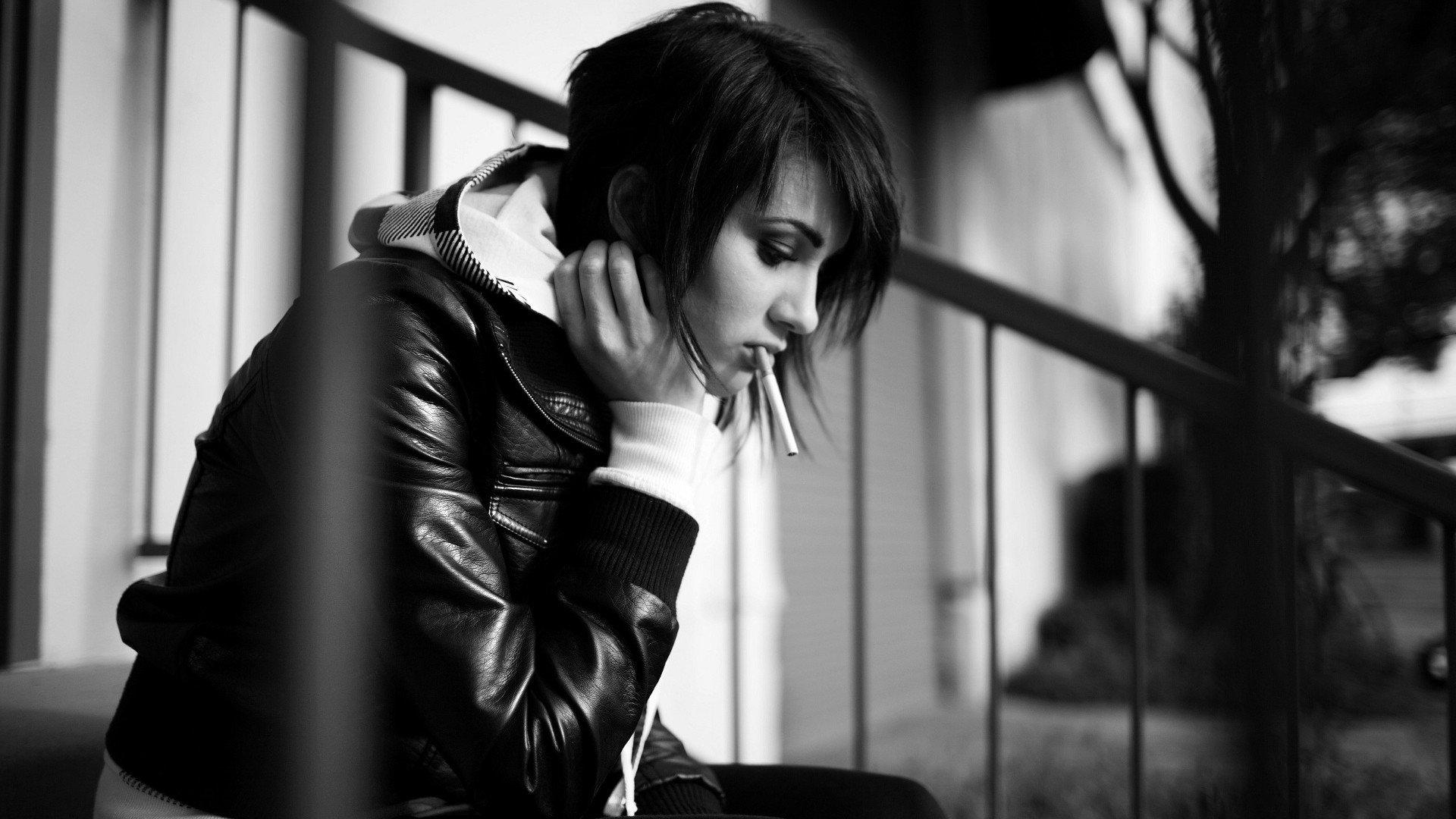 women, Monochrome, Cigarettes, Sitting, Sad Wallpaper
