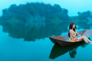 boat, Water, Women, Island, Brunette
