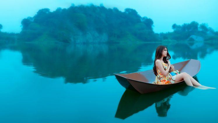 boat, Water, Women, Island, Brunette HD Wallpaper Desktop Background