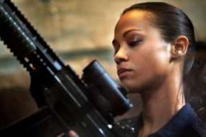 women, Zoe Saldana, Weapon, Ponytail
