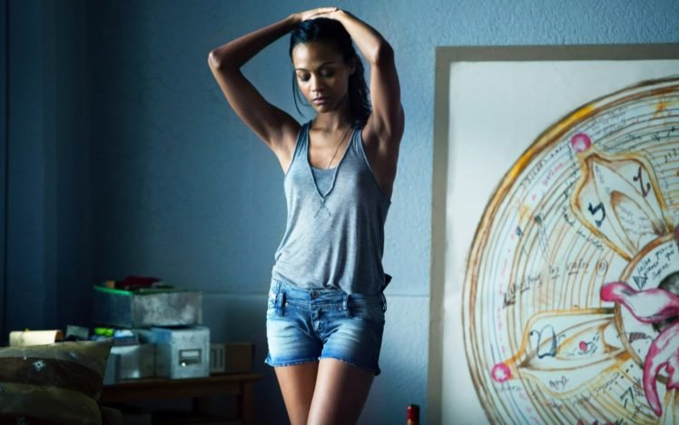 Women Zoe Saldana Brunette Shorts Tank Top Arms Up Nipples Through Clothing Armpits Legs Movies HD Wallpapers Desktop And Mobile Images Photos