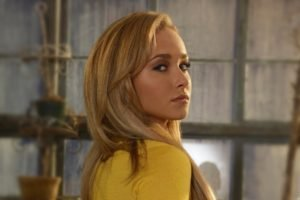 Hayden Panettiere, Blonde, Platinum blonde, Eyes, Blue eyes, Yellow, Yellow clothing, Lips, Looking up