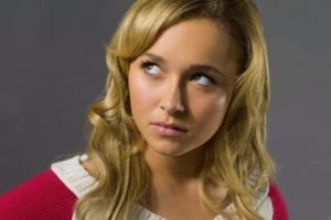 Hayden Panettiere, Blonde, Platinum blonde, Eyes, Blue eyes, Lips, Looking up, Red, Sweater, Sweater dress