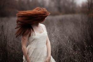 women, Face, Redhead, Long hair, White dress, Freckles, Field