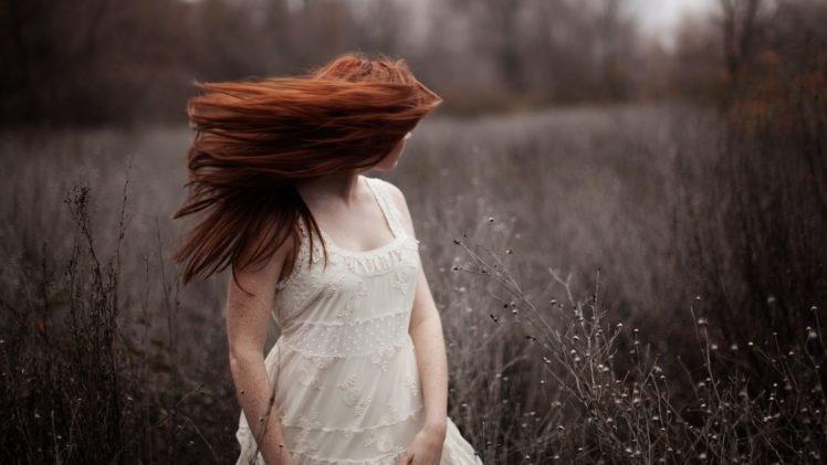 women, Face, Redhead, Long hair, White dress, Freckles, Field HD Wallpaper Desktop Background