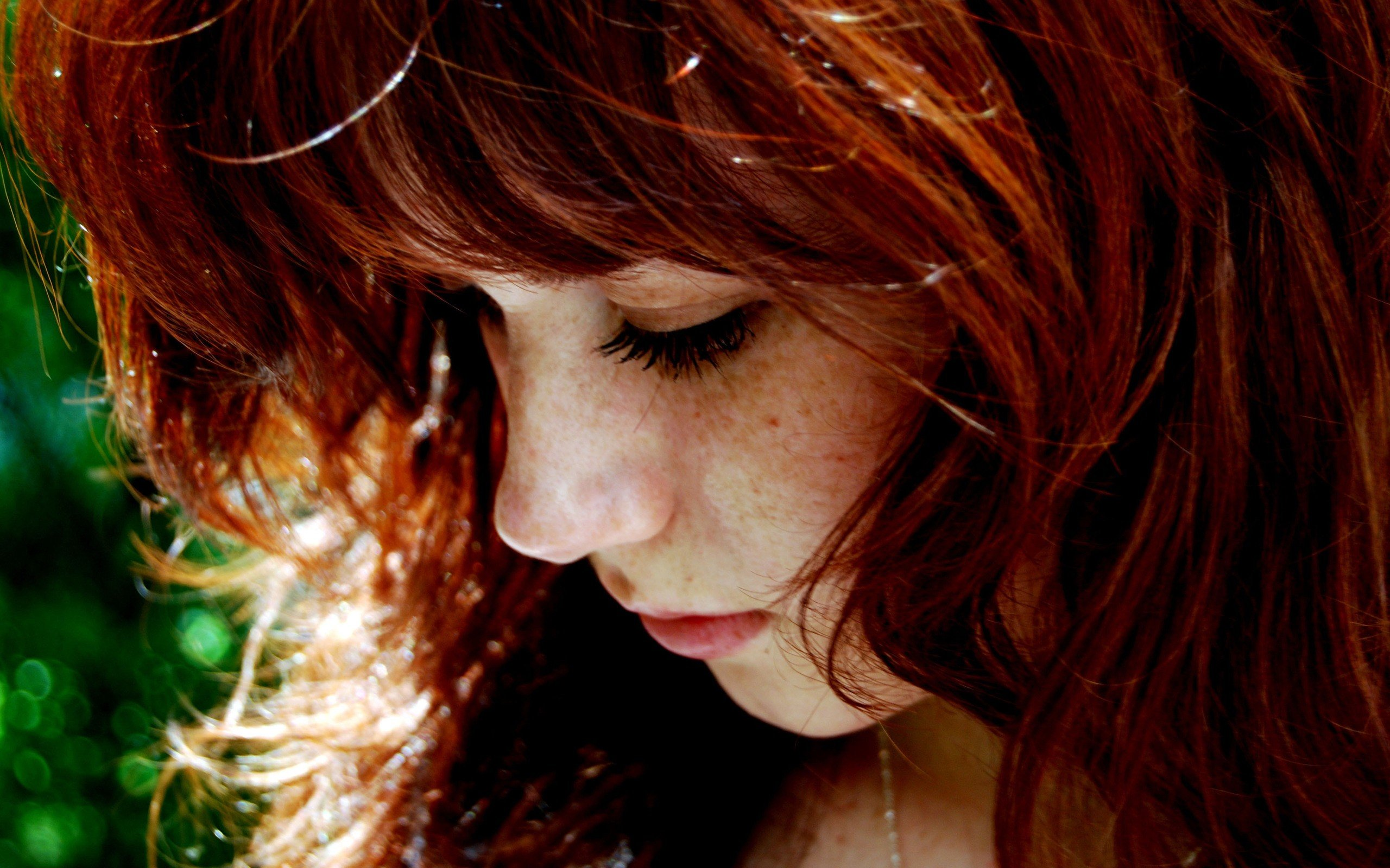 women, Face, Redhead, Freckles, Closeup Wallpaper