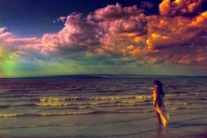 women, Face, Beach, Clouds