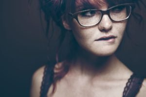 women, Face, Freckles, Biting lip, Redhead, Glasses, Women with glasses