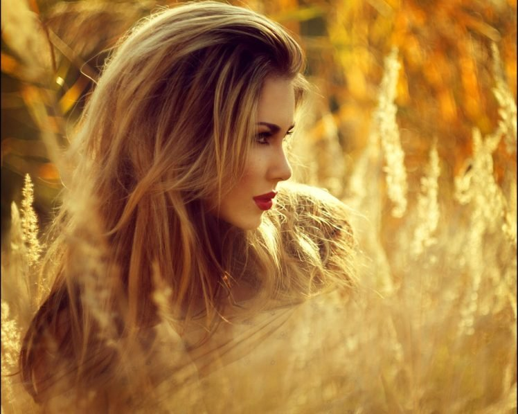 women, Face, Blonde, Grass, Field HD Wallpaper Desktop Background