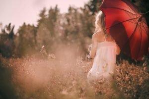 women, Umbrella, Blonde, Forest