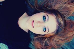 women, Face, Brunette, Blue eyes, Lying down