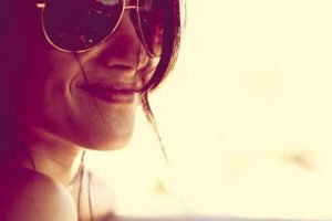 women, Face, Smiling, Sunglasses, Piercing