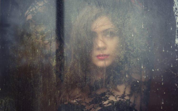 women, Glass, Brunette, Water on glass HD Wallpaper Desktop Background