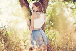 women, Brunette, Forest, Nature