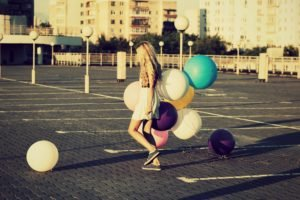 women, Blonde, Balloons, City, Building, Parking lot