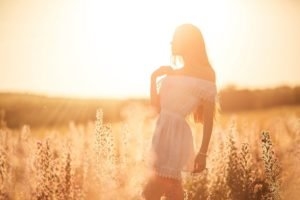 women, Brunette, Sun rays, Field, Plains