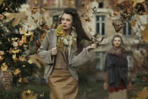 women, Brunette, Fall, Leaves