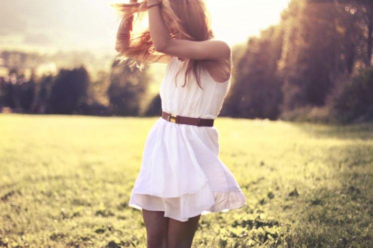 women, Brunette, White dress, Women outdoors, Sunlight, Field, Dress, Arms up, Forest HD Wallpaper Desktop Background