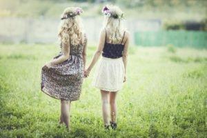 women, Blonde, Grass, Plains