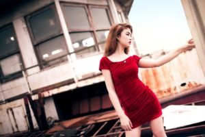 women, Long hair, Women outdoors, Redhead, Asian, Red dress, Open mouth, Industrial, Building