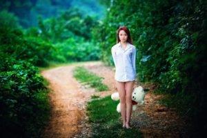 women, Long hair, Women outdoors, Asian, Barefoot, Blouses, Nature, Trees, Redhead, Teddy bears, Legs