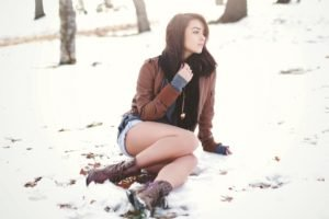 women, Brunette, Long hair, Women outdoors, Snow, Park, Winter, Leather jackets, Jean shorts, Sitting, Boots