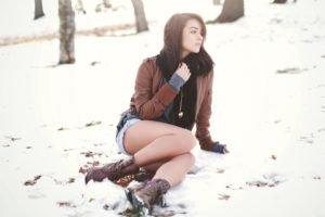 women, Brunette, Long hair, Women outdoors, Snow, Park, Winter, Leather jackets, Jean shorts, Sitting, Boots