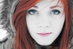 women, Face, Blue eyes, Selective coloring, Redhead