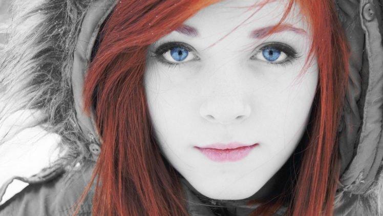 women, Face, Blue eyes, Selective coloring, Redhead HD Wallpaper Desktop Background