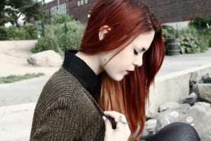 women, Redhead, Piercing