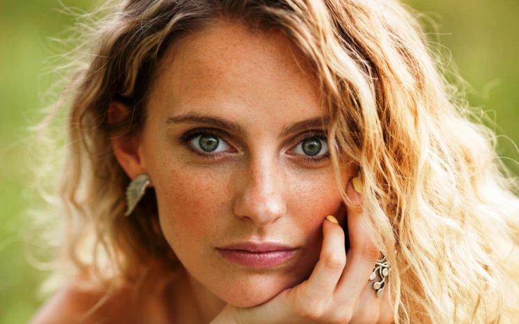women, Blue eyes, Face, Blonde, Painted nails, Depth of field, Curly hair HD Wallpaper Desktop Background