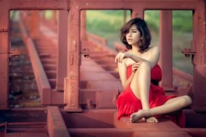 Asian, Brunette, Women outdoors, Sitting, Legs, Dress, Red dress