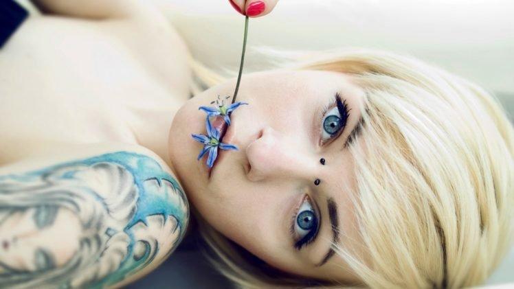 women, Tattoo, Blonde, Blue eyes HD Wallpaper Desktop Background
