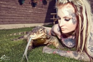 tattoo, Women, Animals, Reptile, Women outdoors, Blonde