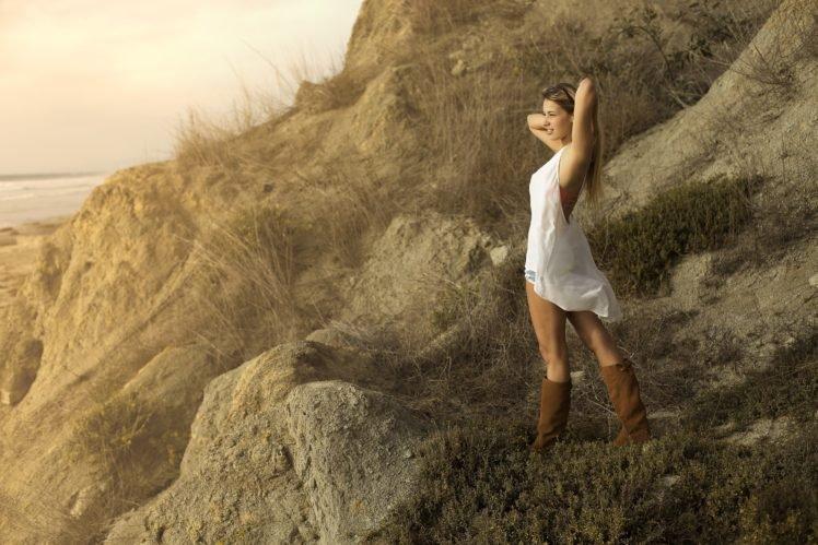 women, Model, Women outdoors, Blonde, Long hair, Sunglasses, Smiling, Boots, Nature, Rock HD Wallpaper Desktop Background