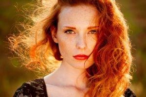 women, Redhead, Face, Freckles, Ann Nevreva