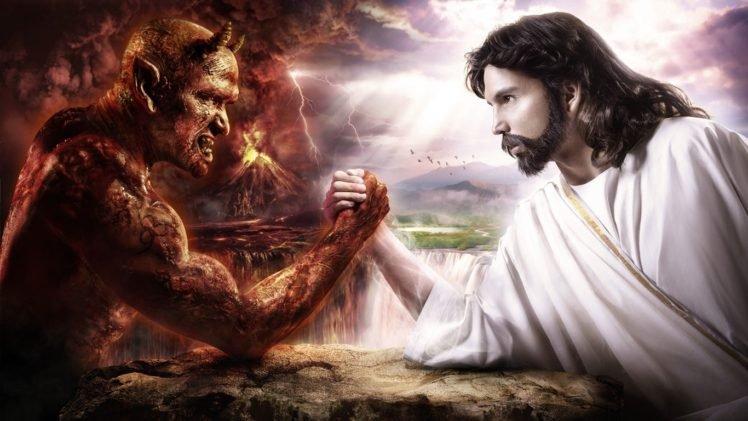anime, Hell, Devil, Digital art, Religion, Artwork, Jesus Christ HD Wallpaper Desktop Background