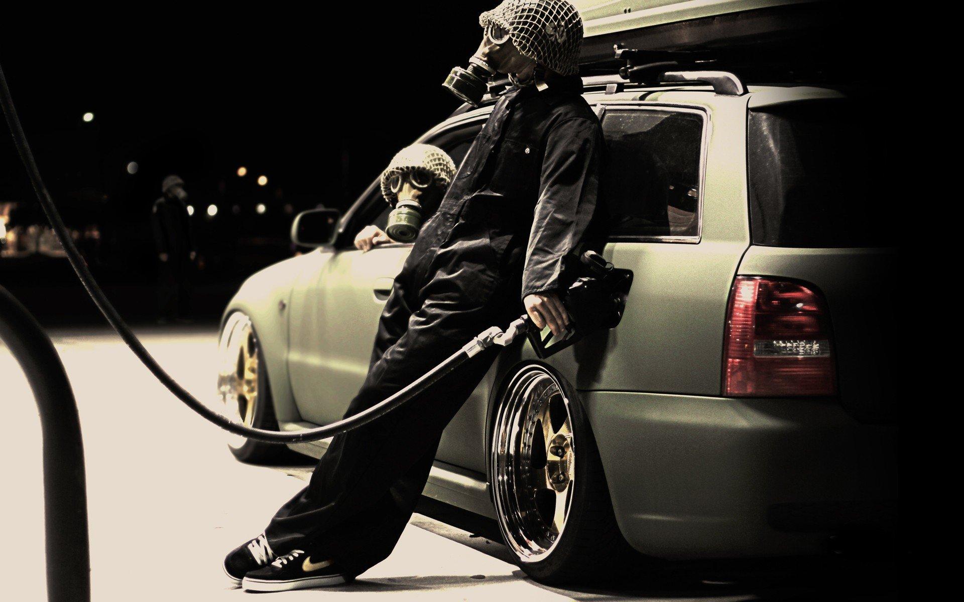 sports car, Gas stations, Mafia, Car, Gas masks Wallpaper
