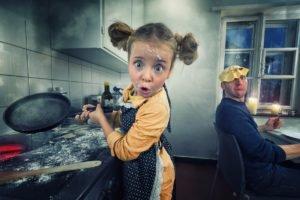 kitchen, Baby, Cook, Families, Apron, Flour