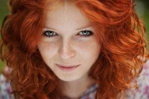women, Model, Redhead, Face, Blue eyes, Freckles, Women outdoors, Smiling, Long hair, Depth of field