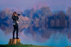 women, Brunette, Long hair, Women outdoors, Dress, Camera, Water, Trees, Reflection, Leather jackets