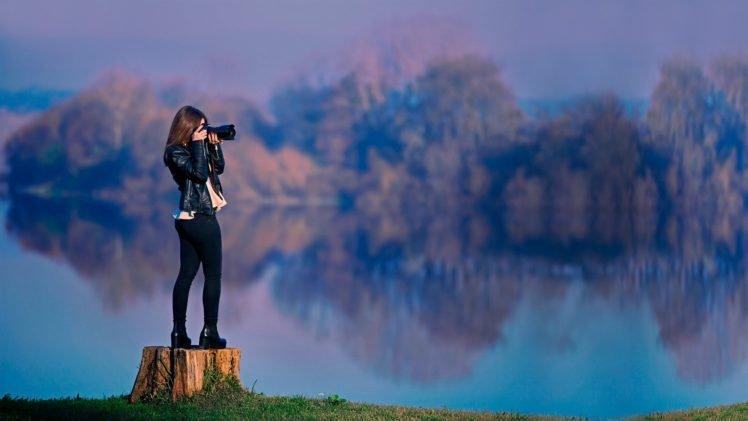 women, Brunette, Long hair, Women outdoors, Dress, Camera, Water, Trees, Reflection, Leather jackets HD Wallpaper Desktop Background
