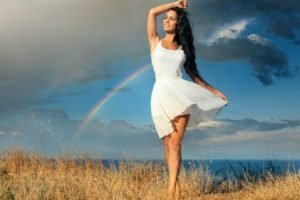 women, Model, Brunette, Long hair, Women outdoors, Dress, Smiling, Sea, Grass, Rainbows, Clouds, Barefoot