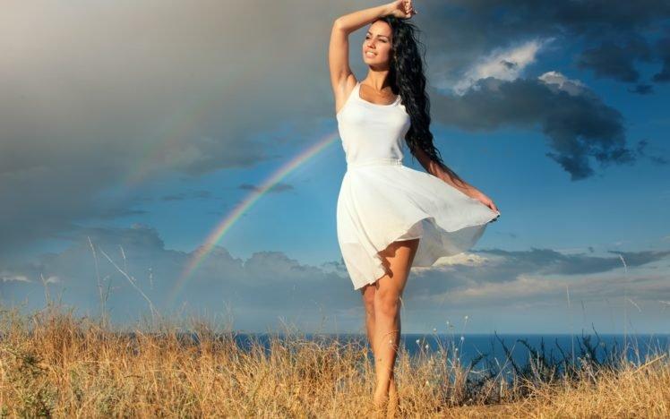 women, Model, Brunette, Long hair, Women outdoors, Dress, Smiling, Sea, Grass, Rainbows, Clouds, Barefoot HD Wallpaper Desktop Background